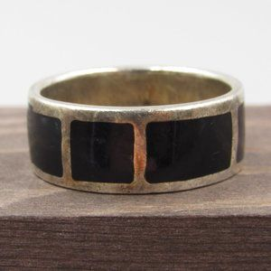 Jewelry - Size 11.5 Sterling Silver Thick Black Inlay Band